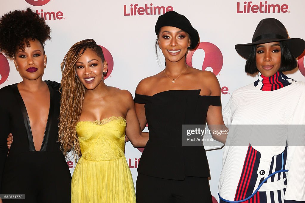 Actors Kellee Stewart, Meagan Good, Keri Hilson and Kelly Rowland attend the screening of 'Love By The 10th Date' at The London West Hollywood at Beverly Hills on January 23, 2017 in West Hollywood, California.