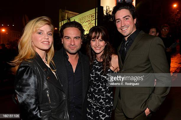 Actors Kelli Garner Johnny Galecki Ben Feldman and Michelle Mulitz attend the Entertainment Weekly PreSAG Party hosted by Essie and Audi held at...
