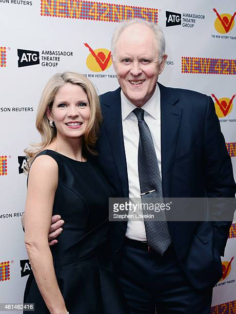 Actors Kelli O'Hara and John Lithgow attend The New 42nd Street 2015 Gala at the Lyric Theatre on January 12 2015 in New York City