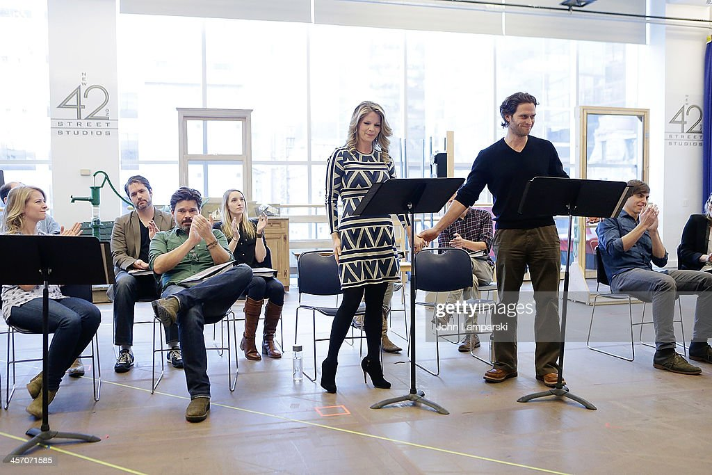 Actors <a gi-track='captionPersonalityLinkClicked' href=/galleries/search?phrase=Kelli+O%27Hara+-+Actress&family=editorial&specificpeople=225013 ng-click='$event.stopPropagation()'>Kelli O'Hara</a> and Steven Pasquale perform at the 'The Bridges of Madison County' Cast Photo Call at The New 42nd Street Studios on December 16, 2013 in New York City.