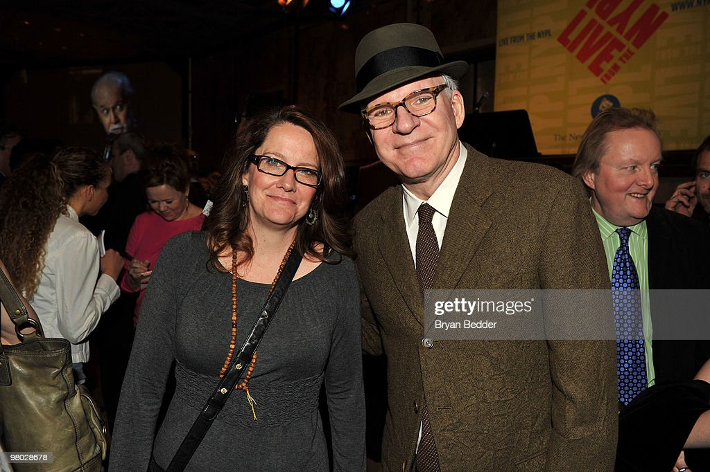 Actors Kelly Carlin and <a gi-track='captionPersonalityLinkClicked' href=/galleries/search?phrase=Steve+Martin+-+Comedian&family=editorial&specificpeople=196544 ng-click='$event.stopPropagation()'>Steve Martin</a> attend the George Carlin Tribute hosted by Whoopi Goldberg at the New York Public Library - Celeste Bartos Forum on March 24, 2010 in New York City.