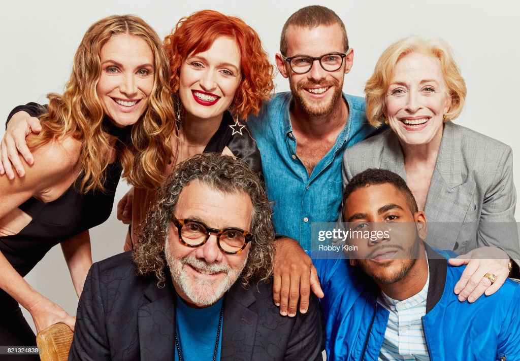 Actors Kelly Lynch, Breeda Wool, Harry Treadaway and Holland Taylor (Bottom) Director Jack Bender and actor Jharrel Jerome from AT&T AUDIENCE's 'Mr. Mercedes' poses for a portrait during Comic-Con 2017 at Hard Rock Hotel San Diego on July 23, 2017 in San Diego, California.