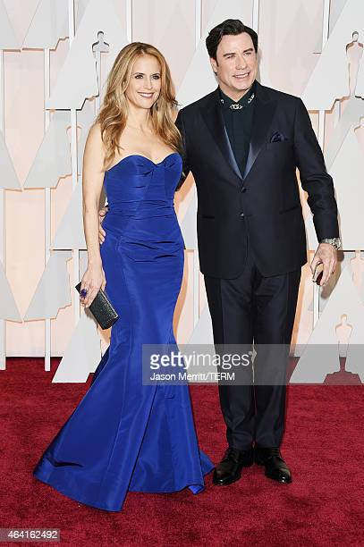Actors Kelly Preston and John Travolta attend the 87th Annual Academy Awards at Hollywood Highland Center on February 22 2015 in Hollywood California