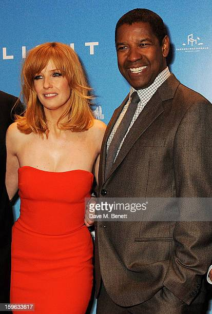 Actors Kelly Reilly and Denzel Washington attend the UK Premiere of 'Flight' at the the Empire Leicester Square on January 17 2013 in London England