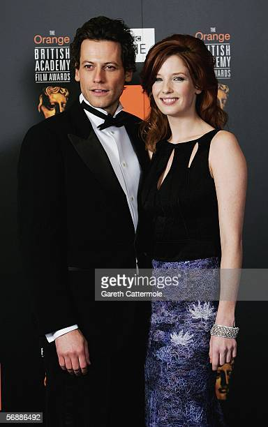 Actors Kelly Reilly and Ioan Gruffudd pose backstage in the Awards Room at The Orange British Academy Film Awards at the Odeon Leicester Square on...