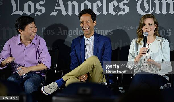 Actors Ken Jeong Danny Pudi and Gillian Jacobs participate in a panel at the LA Times Envelope Emmy event for 'Community' on Yahoo Screen at ArcLight...