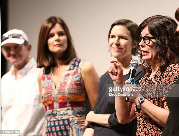 Actors Ken Strunk and Betsy Brandt and writer/directors Lisa Robinson and Annie J Howell speak onstage during the premiere of 'Claire in Motion'...