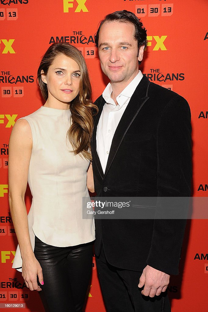 Actors <a gi-track='captionPersonalityLinkClicked' href=/galleries/search?phrase=Keri+Russell&family=editorial&specificpeople=203250 ng-click='$event.stopPropagation()'>Keri Russell</a> (L) and <a gi-track='captionPersonalityLinkClicked' href=/galleries/search?phrase=Matthew+Rhys&family=editorial&specificpeople=733972 ng-click='$event.stopPropagation()'>Matthew Rhys</a> attend FX's 'The Americans' Season One New York Premiere at DGA Theater on January 26, 2013 in New York City.