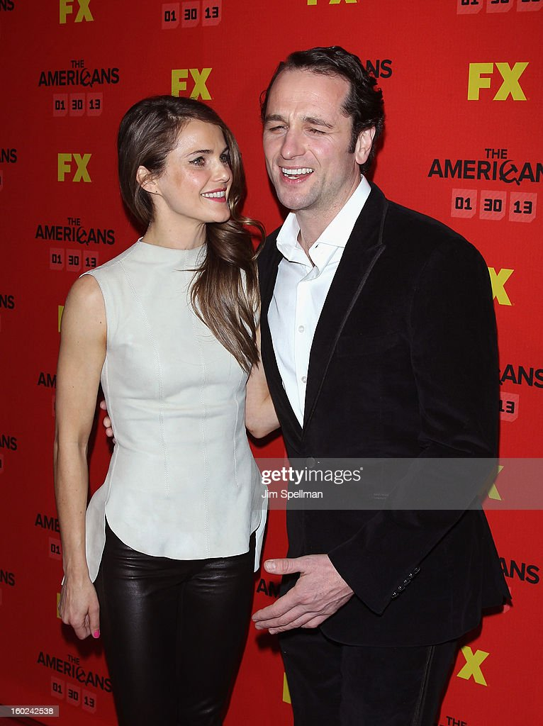 Actors <a gi-track='captionPersonalityLinkClicked' href=/galleries/search?phrase=Keri+Russell&family=editorial&specificpeople=203250 ng-click='$event.stopPropagation()'>Keri Russell</a> and <a gi-track='captionPersonalityLinkClicked' href=/galleries/search?phrase=Matthew+Rhys&family=editorial&specificpeople=733972 ng-click='$event.stopPropagation()'>Matthew Rhys</a> attend FX's 'The Americans' Season One New York Premiere at DGA Theater on January 26, 2013 in New York City.