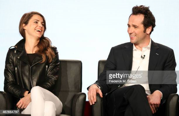 Actors Keri Russell and Matthew Rhys of the television show 'The Americans' speak onstage during the FX portion of the 2014 Television Critics...