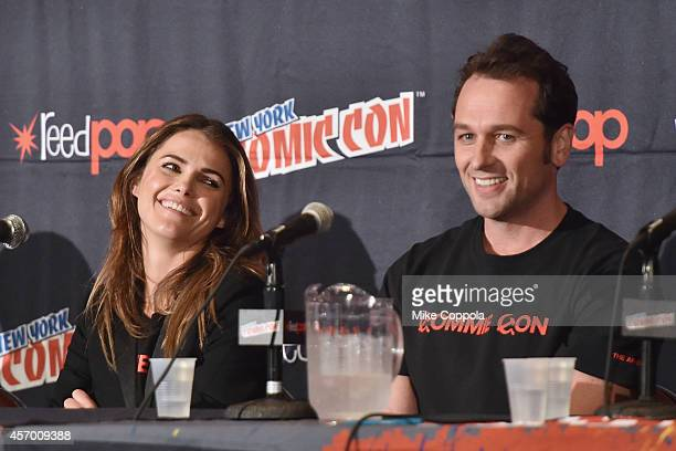 Actors Keri Russell and Matthew Rhys speak during 'The Americans' panel at Jacob Javitz Center on October 10 2014 in New York City