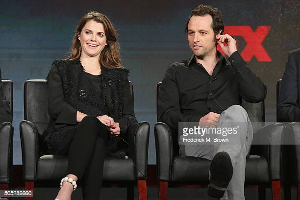 Actors Keri Russell and Matthew Rhys speak onstage during 'The Americans' panel discussion at the FX portion of the 2015 Winter TCA Tour at the...