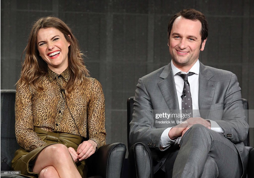 Actors Keri Russell (L) and Matthew Rhys speak onstage during the 'The Americans' panel discussion at the FX Networks portion of the Television Critics Association press tour at Langham Hotel on January 18, 2015 in Pasadena, California.