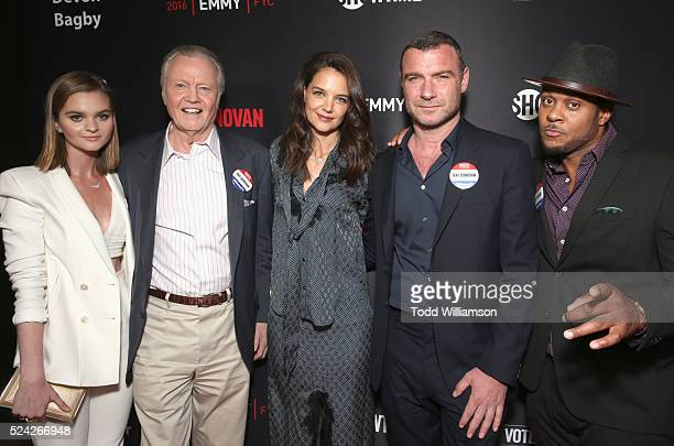Actors Kerris Dorsey Jon Voight Katie Holmes Liev Schreiber and Pooch Hall attend the For Your Consideration screening and panel for Showtime's 'Ray...