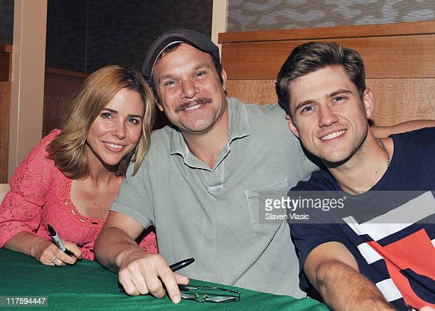 Actors Kerry Butler Norbert Leo Butz and Aaron Tveit attend 'Catch Me If You Can' Instore Performance at Barnes Noble 86th Street 2nd Avenue on June...