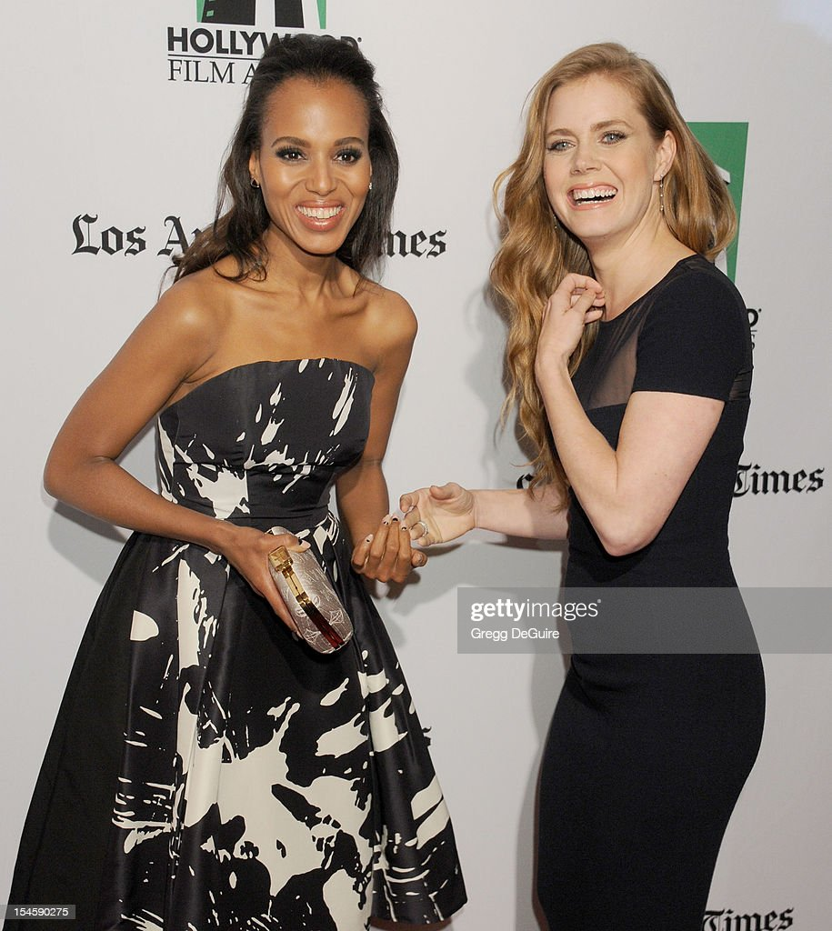 Actors <a gi-track='captionPersonalityLinkClicked' href=/galleries/search?phrase=Kerry+Washington&family=editorial&specificpeople=201534 ng-click='$event.stopPropagation()'>Kerry Washington</a> and <a gi-track='captionPersonalityLinkClicked' href=/galleries/search?phrase=Amy+Adams&family=editorial&specificpeople=213938 ng-click='$event.stopPropagation()'>Amy Adams</a> arrive at the 16th Annual Hollywood Film Awards Gala presented by the Los Angeles Times at The Beverly Hilton Hotel on October 22, 2012 in Beverly Hills, California.