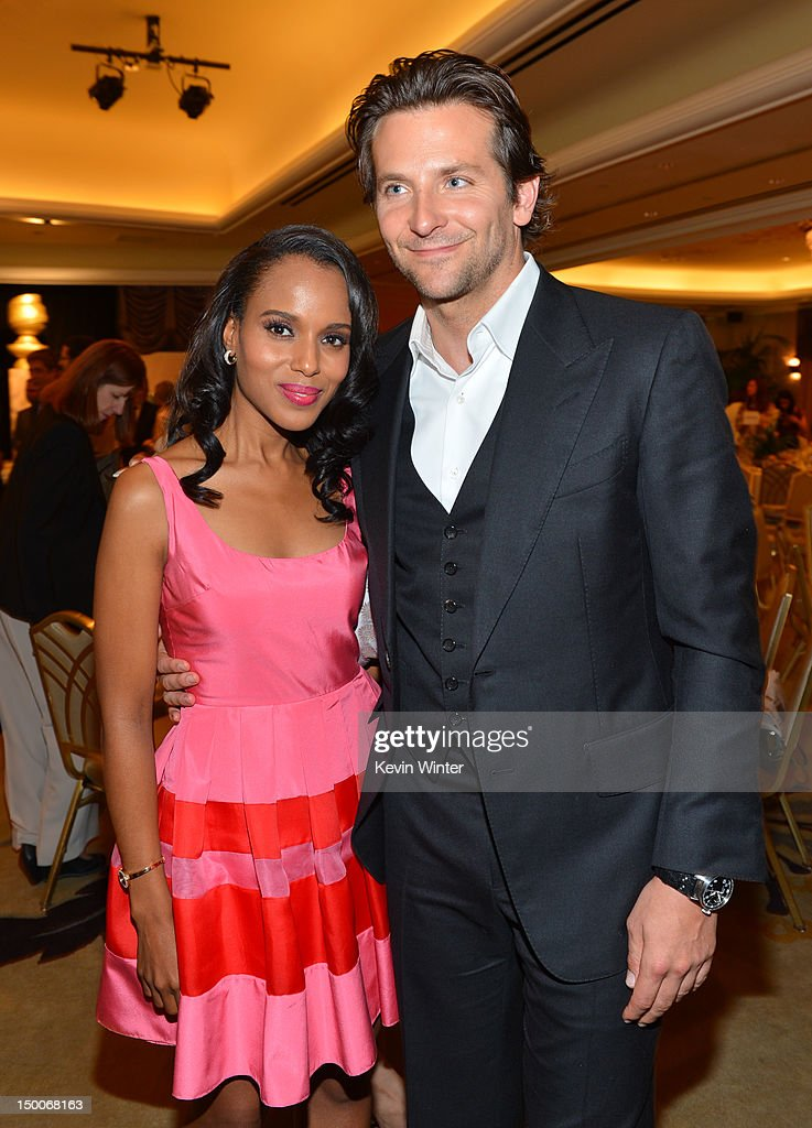 Actors <a gi-track='captionPersonalityLinkClicked' href=/galleries/search?phrase=Kerry+Washington&family=editorial&specificpeople=201534 ng-click='$event.stopPropagation()'>Kerry Washington</a> and <a gi-track='captionPersonalityLinkClicked' href=/galleries/search?phrase=Bradley+Cooper&family=editorial&specificpeople=680224 ng-click='$event.stopPropagation()'>Bradley Cooper</a> attend the Hollywood Foreign Press Association's 2012 Installation Luncheon held at the Beverly Hills Hotel on August 9, 2012 in Beverly Hills, California.