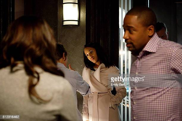 Actors Kerry Washington and Columbus Short are photographed on set of ABC's 'Scandal' for The Hollywood Reporter on March 14 2013 in Los Angeles...