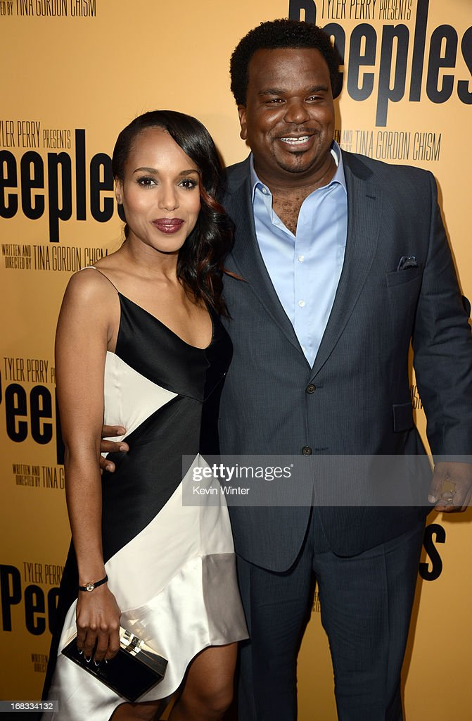 Actors <a gi-track='captionPersonalityLinkClicked' href=/galleries/search?phrase=Kerry+Washington&family=editorial&specificpeople=201534 ng-click='$event.stopPropagation()'>Kerry Washington</a> (L) and Craig Robinson arrive at the premiere of 'Peeples' presented by Lionsgate Film and Tyler Perry at ArcLight Hollywood on May 8, 2013 in Hollywood, California.