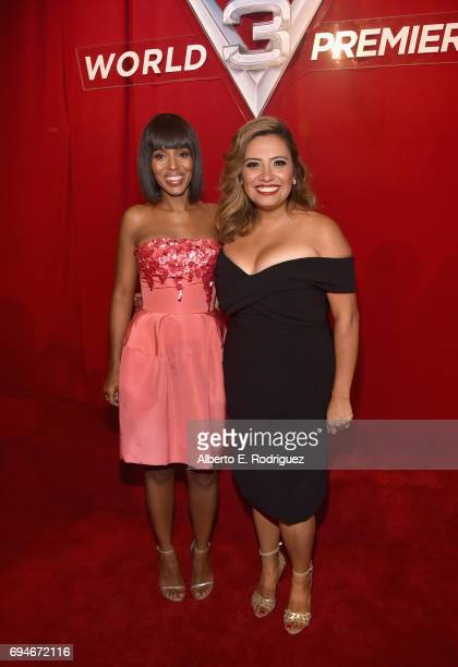 """Actors Kerry Washington and Cristela Alonzo pose at the World Premiere of Disney/Pixar's """"Cars 3' at the Anaheim Convention Center on June 10 2017 in..."""