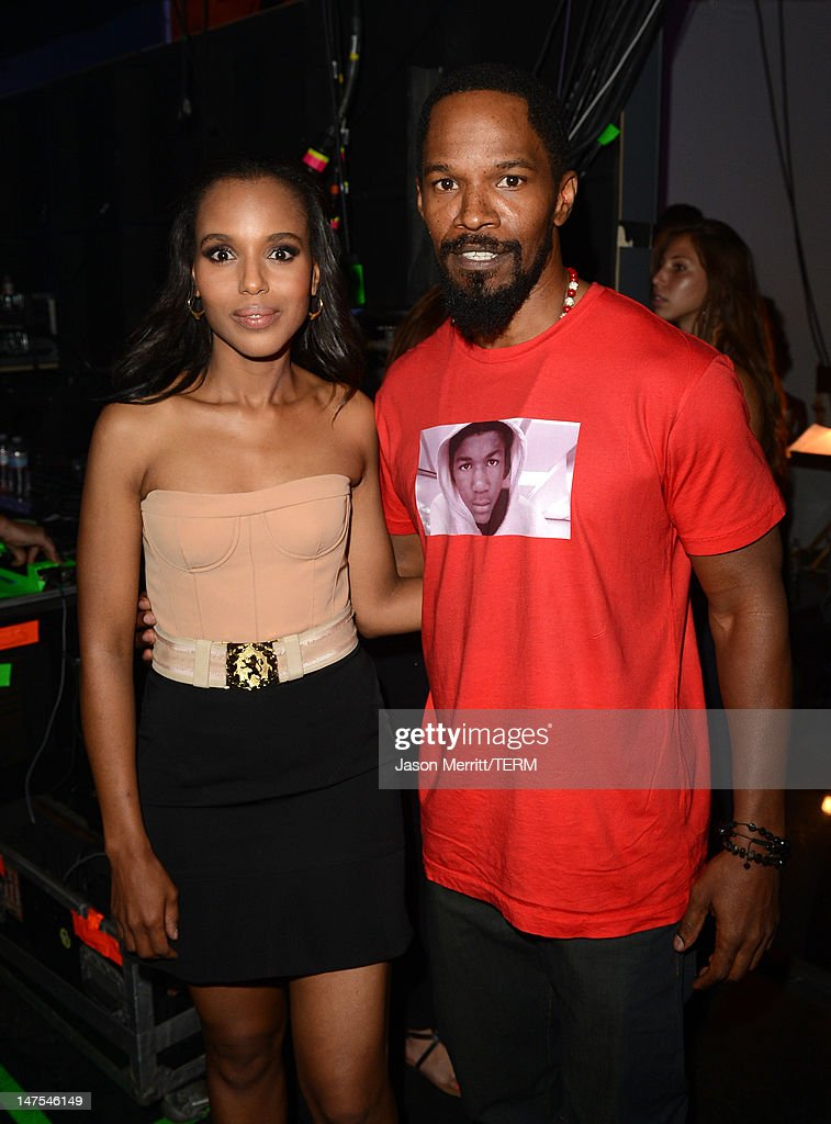 Actors <a gi-track='captionPersonalityLinkClicked' href=/galleries/search?phrase=Kerry+Washington&family=editorial&specificpeople=201534 ng-click='$event.stopPropagation()'>Kerry Washington</a> and <a gi-track='captionPersonalityLinkClicked' href=/galleries/search?phrase=Jamie+Foxx&family=editorial&specificpeople=201715 ng-click='$event.stopPropagation()'>Jamie Foxx</a> attend the 2012 BET Awards at The Shrine Auditorium on July 1, 2012 in Los Angeles, California.
