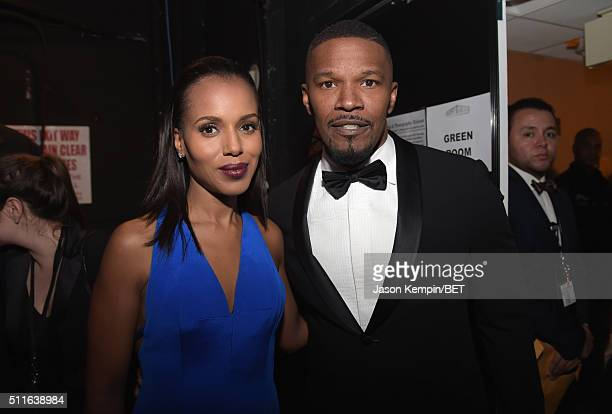 Actors Kerry Washington and Jamie Foxx pose backstage at the 2016 ABFF Awards A Celebration Of Hollywood at The Beverly Hilton Hotel on February 21...