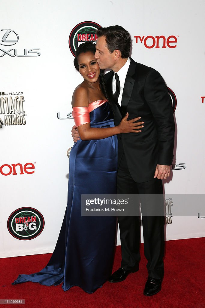 Actors Kerry Washington and Tony Goldwyn attend the 45th NAACP Image Awards presented by TV One at Pasadena Civic Auditorium on February 22 2014 in...