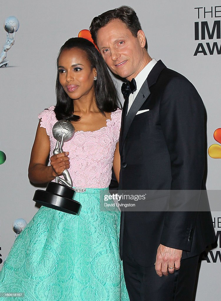 Actors <a gi-track='captionPersonalityLinkClicked' href=/galleries/search?phrase=Kerry+Washington&family=editorial&specificpeople=201534 ng-click='$event.stopPropagation()'>Kerry Washington</a> (L) and <a gi-track='captionPersonalityLinkClicked' href=/galleries/search?phrase=Tony+Goldwyn&family=editorial&specificpeople=234897 ng-click='$event.stopPropagation()'>Tony Goldwyn</a> pose in the press room at the 44th NAACP Image Awards at the Shrine Auditorium on February 1, 2013 in Los Angeles, California.