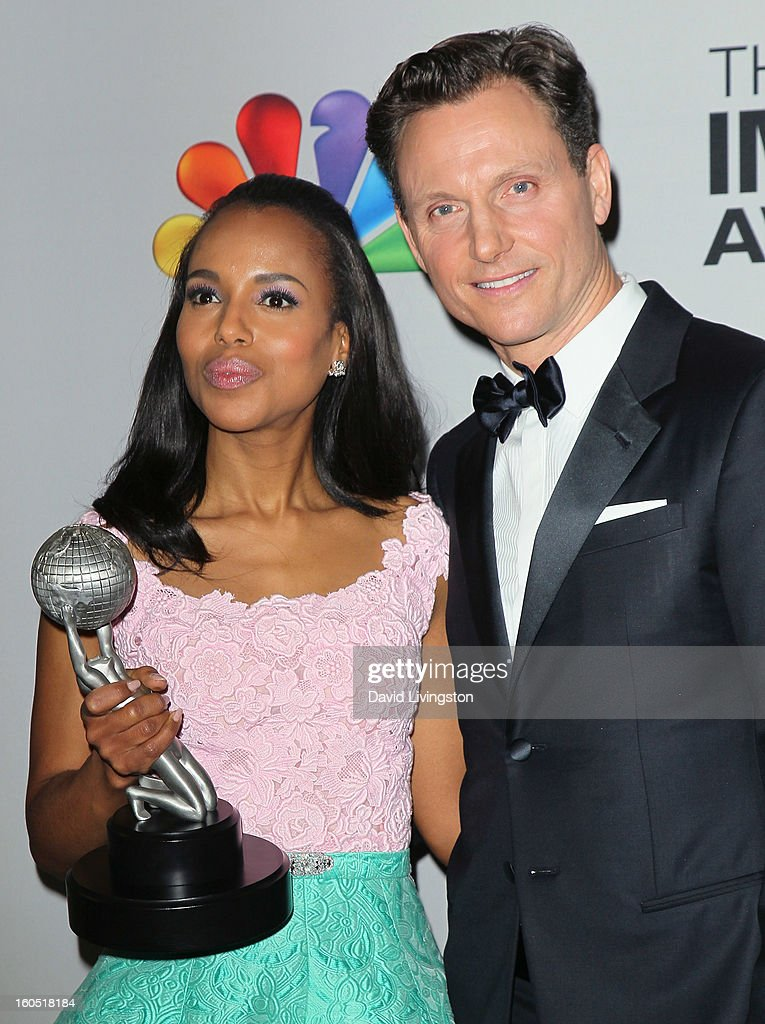 Actors Kerry Washington (L) and Tony Goldwyn pose in the press room at the 44th NAACP Image Awards at the Shrine Auditorium on February 1, 2013 in Los Angeles, California.