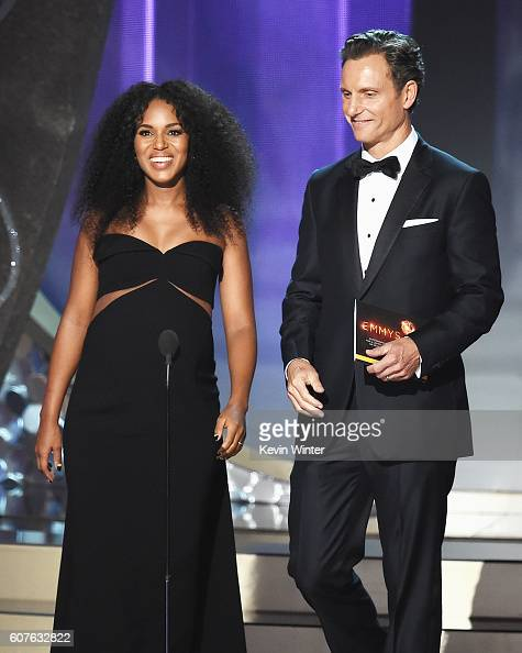Actors Kerry Washington and Tony Goldwyn speak onstage during the 68th Annual Primetime Emmy Awards at Microsoft Theater on September 18 2016 in Los...