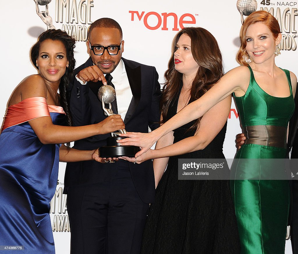 Actors <a gi-track='captionPersonalityLinkClicked' href=/galleries/search?phrase=Kerry+Washington&family=editorial&specificpeople=201534 ng-click='$event.stopPropagation()'>Kerry Washington</a>, <a gi-track='captionPersonalityLinkClicked' href=/galleries/search?phrase=Columbus+Short&family=editorial&specificpeople=536546 ng-click='$event.stopPropagation()'>Columbus Short</a>, <a gi-track='captionPersonalityLinkClicked' href=/galleries/search?phrase=Katie+Lowes&family=editorial&specificpeople=5527804 ng-click='$event.stopPropagation()'>Katie Lowes</a> and <a gi-track='captionPersonalityLinkClicked' href=/galleries/search?phrase=Darby+Stanchfield&family=editorial&specificpeople=4068945 ng-click='$event.stopPropagation()'>Darby Stanchfield</a>, winners of the Outstanding Drama Series award for 'Scandal,' pose in the press room at the 45th NAACP Image Awards at Pasadena Civic Auditorium on February 22, 2014 in Pasadena, California.