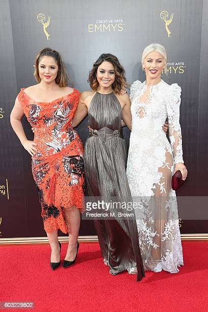 Actors Kether Donohue Vanessa Hudgens and Julianne Hough attend the 2016 Creative Arts Emmy Awards at Microsoft Theater on September 11 2016 in Los...