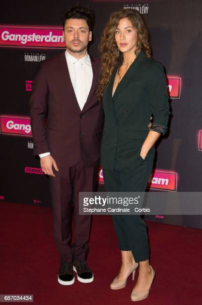 Actors Kev Adams and Manon Azem attend the 'Gangsterdam' Paris Premiere at Le Grand Rex on March 23 2017 in Paris France