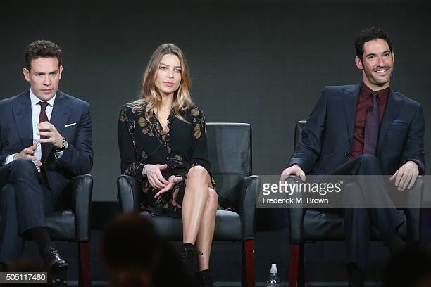 Actors Kevin Alejandro Lauren German and Tom Ellis speak onstage during the 'Lucifer' panel discussion at the FOX portion of the 2015 Winter TCA Tour...