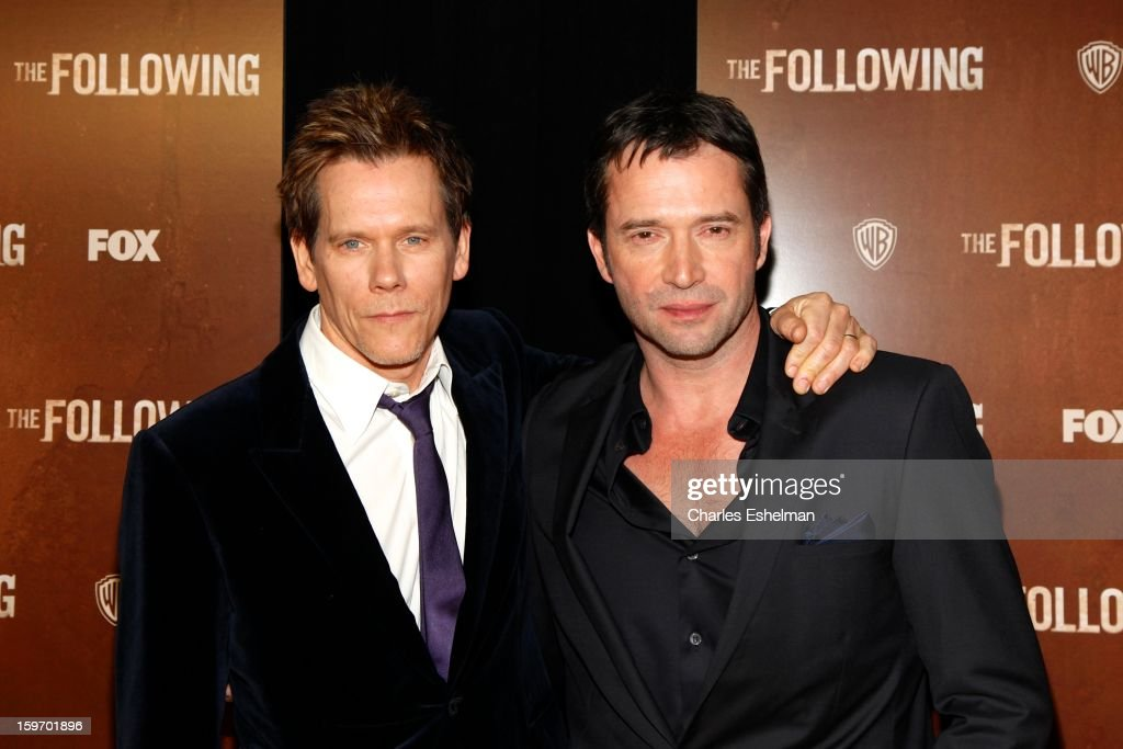 Actors Kevin Bacon and James Purefoy attend 'The Following' premiere at The New York Public Library on January 18, 2013 in New York City.