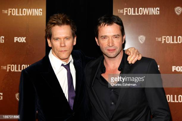 Actors Kevin Bacon and James Purefoy attend 'The Following' premiere at The New York Public Library on January 18 2013 in New York City