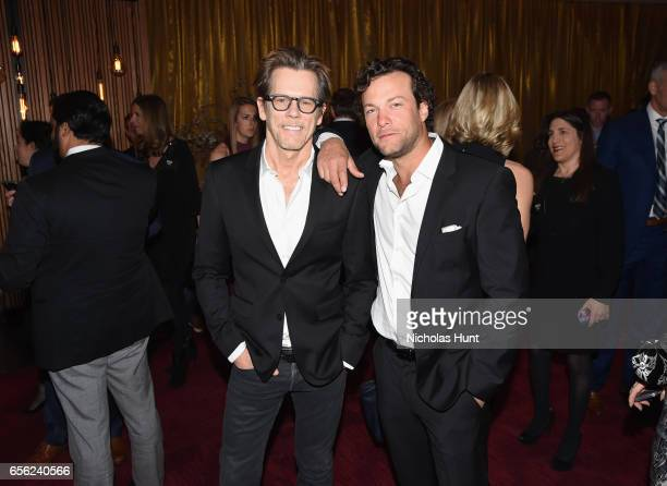 Actors Kevin Bacon and Kyle Schmid attend the 2017 AE Networks Upfront At Jazz At Lincoln Center's Frederick P Rose Hall on March 21 2017 in New York...