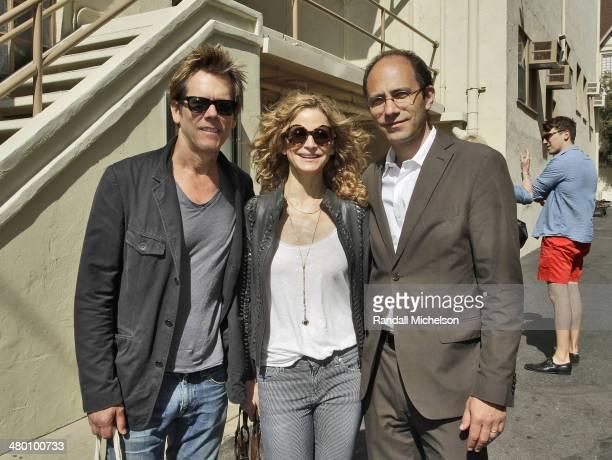 Actors Kevin Bacon and Kyra Sedgewick and Director of Paris Photo Los Angeles Julien Frydman at Paris Photo Los Angeles at Paramount Studios on April...