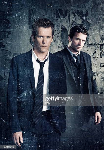 Actors Kevin Bacon as 'Agent Ryan Hardy' and James Purefoy as 'Joe Carroll' on the new drama THE FOLLOWING premiering midseason on FOX