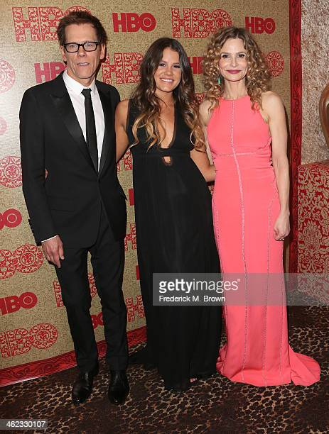 Actors Kevin Bacon Sosie Bacon and Kyra Sedgwick attend HBO's Post 2014 Golden Globe Awards Party held at Circa 55 Restaurant on January 12 2014 in...