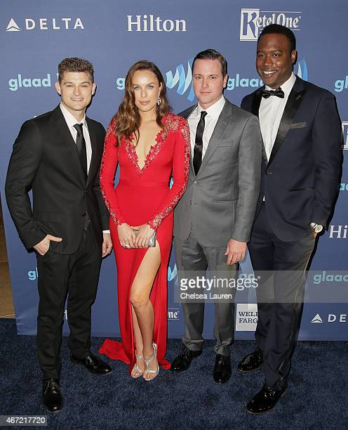 Actors Kevin Bigley Jessica McNamee Michael Mosley and Kevin Daniels arrive at the 26th annual GLAAD media awards at The Beverly Hilton Hotel on...
