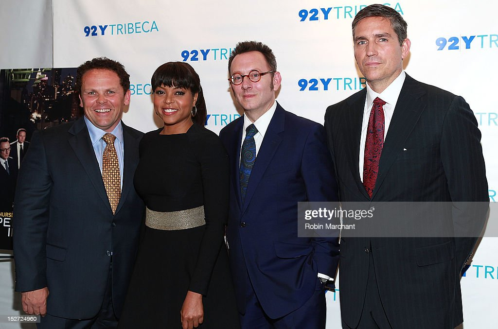 Actors Kevin Chapman, <a gi-track='captionPersonalityLinkClicked' href=/galleries/search?phrase=Taraji+P.+Henson&family=editorial&specificpeople=208823 ng-click='$event.stopPropagation()'>Taraji P. Henson</a>, <a gi-track='captionPersonalityLinkClicked' href=/galleries/search?phrase=Michael+Emerson&family=editorial&specificpeople=653299 ng-click='$event.stopPropagation()'>Michael Emerson</a> and Jim Caviezel attend the 'Person Of Interest' preview screening and Q&A at92Y Tribeca on September 24, 2012 in New York City.