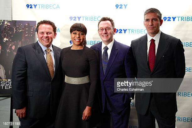 Actors Kevin Chapman Taraji P Henson Michael Emerson and Jim Caviezel attend the 'Person of Interest' preview screening and QA at the 92Y Tribeca on...