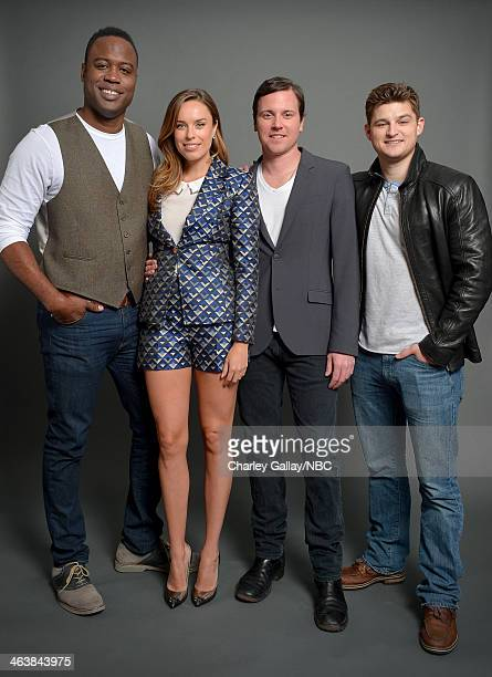 Actors Kevin Daniels Jessica McNamee Michael Mosley and Kevin Bigley attend the 2014 NBCUniversal TCA Winter Press Tour Portraits at Langham Hotel on...