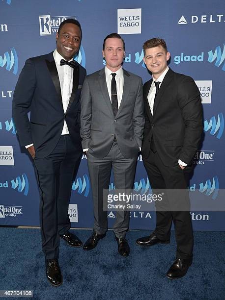 Actors Kevin Daniels Kevin Bigley Michael Mosley attend the 26th Annual GLAAD Media Awards at The Beverly Hilton Hotel on March 21 2015 in Beverly...