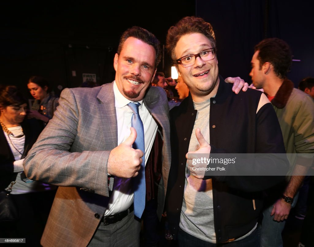 Actors Kevin Dillon (L) and Seth Rogen attend the 2014 MTV Movie Awards at Nokia Theatre L.A. Live on April 13, 2014 in Los Angeles, California.