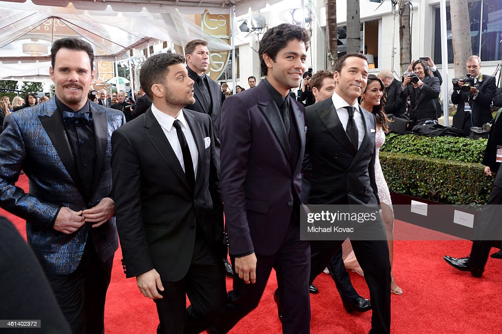 Actors Kevin Dillon, Jerry Ferrara, Adrian Grenier, Jeremy Piven and Emmanuelle Chriqui attend the 72nd Annual Golden Globe Awards at The Beverly Hilton Hotel on January 11, 2015 in Beverly Hills, California.