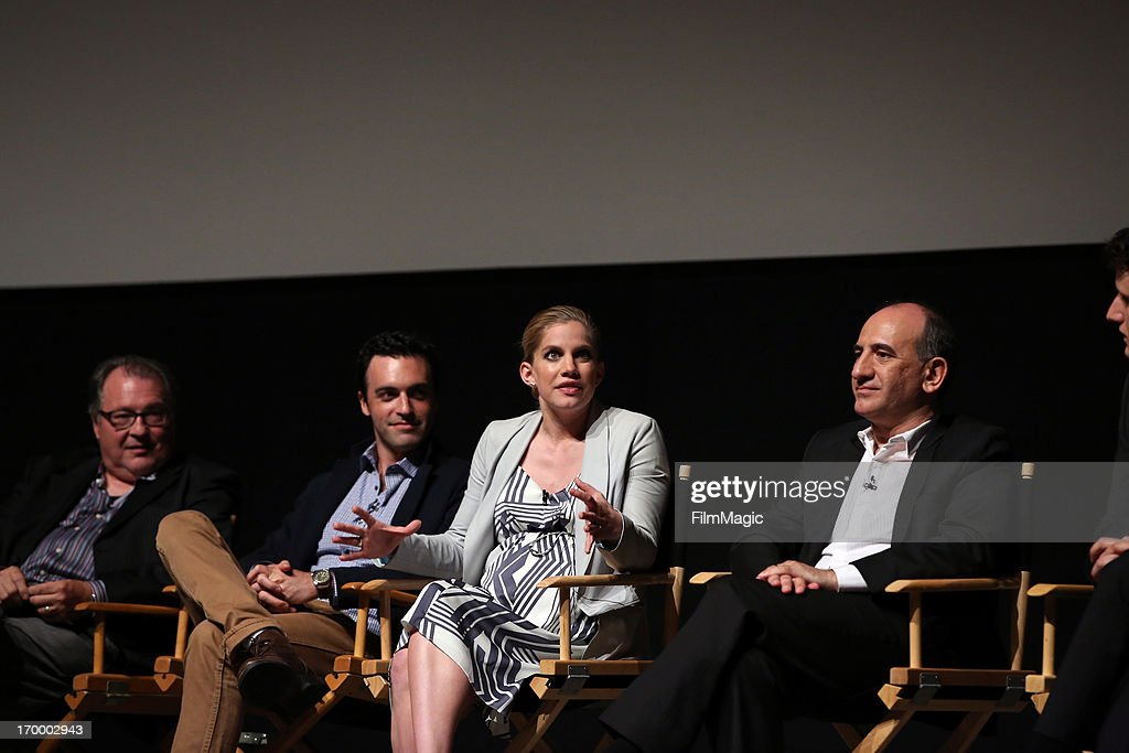 Actors Kevin Dunn, Reid Scott, <a gi-track='captionPersonalityLinkClicked' href=/galleries/search?phrase=Anna+Chlumsky&family=editorial&specificpeople=1133442 ng-click='$event.stopPropagation()'>Anna Chlumsky</a>, and writer/director/producer Armando Iannucci attend HBO's 'VEEP' screening and panel at the Leonard H. Goldenson Theatre at the Academy of Television Arts & Sciences on June 5, 2013 in North Hollywood, California.
