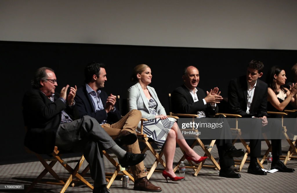 Actors Kevin Dunn, Reid Scott, <a gi-track='captionPersonalityLinkClicked' href=/galleries/search?phrase=Anna+Chlumsky&family=editorial&specificpeople=1133442 ng-click='$event.stopPropagation()'>Anna Chlumsky</a>, writer/director/producer Armando Iannucci, actor Zach Woods, and actress/producer <a gi-track='captionPersonalityLinkClicked' href=/galleries/search?phrase=Julia+Louis-Dreyfus&family=editorial&specificpeople=208965 ng-click='$event.stopPropagation()'>Julia Louis-Dreyfus</a> attend HBO's 'VEEP' screening and panel at the Leonard H. Goldenson Theatre at the Academy of Television Arts & Sciences on June 5, 2013 in North Hollywood, California.