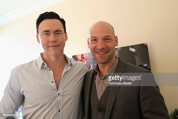 Actors Kevin Durand and Corey Stoll of FX's 'The Strain' attend the Getty Images Portrait Studio powered by Samsung Galaxy at 2015 Summer TCA's at...